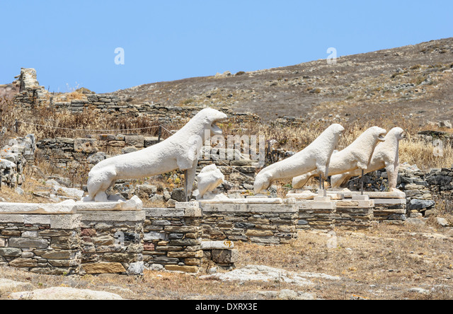 Greece Terrace Lions Delos Stock Photos & Greece Terrace ...