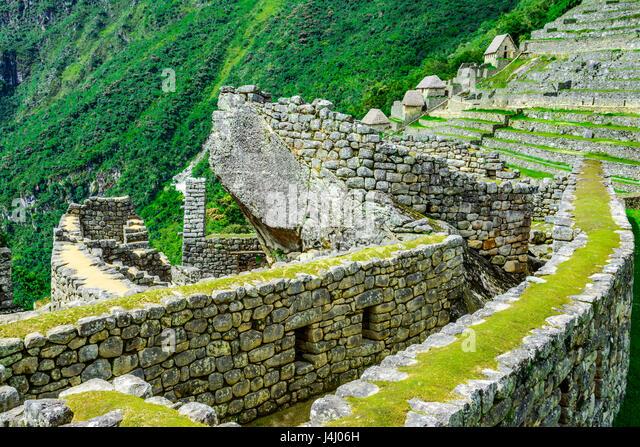 Condor temple Machu Picchu, Incas ruins in the peruvian Andes at Cuzco Peru - Stock Image