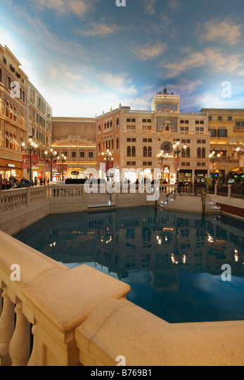 Grand Canal Shoppes In The Venetian, Macau - Stock Image