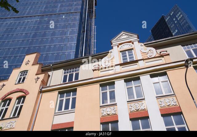New and old architecture in Maakri street Tallinn, Estonia 03th June 2017 - Stock Image
