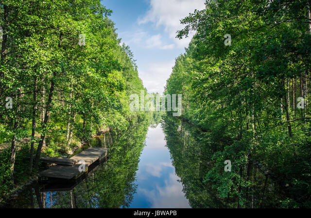 Scenic landscape with channel and lush trees at bright summer day in Finland - Stock Image