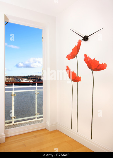 House interior and balcony stock photos house interior for Balcony wall decoration