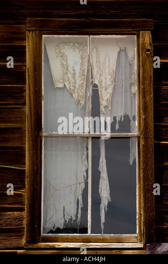 Tattered Curtains In Window Old Stock Photos & Tattered Curtains ...