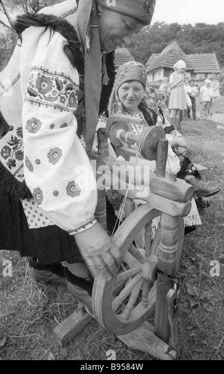 Distaff stock photos distaff stock images alamy a gutsul woman at her distaff stock image sciox Gallery