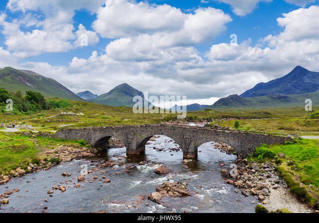 Sligachan Old Bridge looking towards the Cuillin mountain range, Isle of Skye, Highland, Scotland, UK - Stock Image