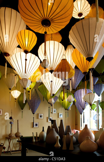 Paper Lamps In A Lamp Store   Stock Image