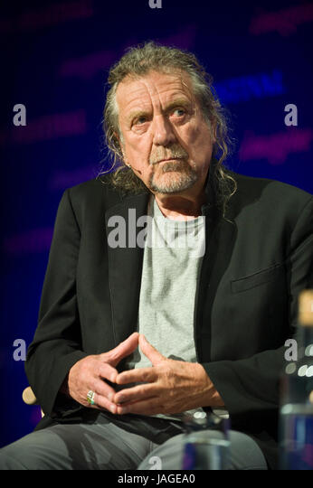 Robert Plant legendary singer songwriter & musician pictured on stage at Hay Festival of Literature and the - Stock Image