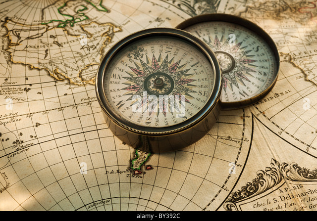 Old Map Compass Stock Photos Old Map Compass Stock Images Alamy - Antiques us maps with compass
