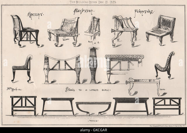 Ancient Egyptian Furniture (2), Antique Print 1875   Stock Image