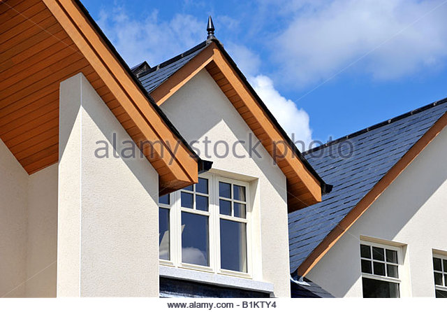roof detail of modern luxury home stock image