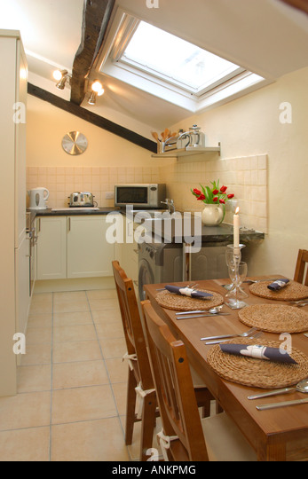 Galley kitchen stock photos galley kitchen stock images for Galley kitchen with dining area