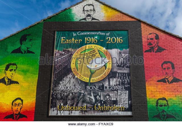 Mural belfast ardoyne stock photos mural belfast ardoyne for Easter rising mural