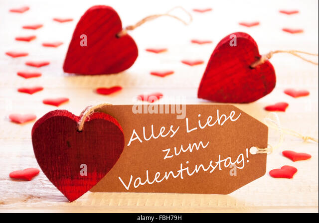 Romantic Label With Hearts, Text Valentinstag Means Valentines Day   Stock  Image