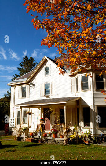 halloween decorations on a house in stowe vermont new england usa stock image