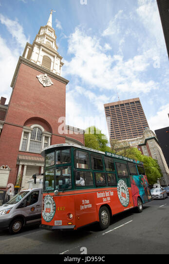 Old Town Trolley Tours Passing Park Street Church Boston USA