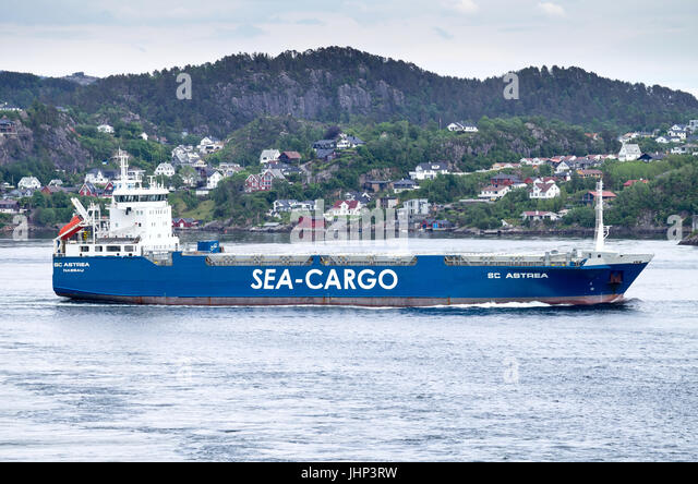 Ro-ro vessel SC ASTREA of Sea-Cargo Skips outbound Bergen. Sea-Cargo is a multimodal transport company, provides - Stock Image
