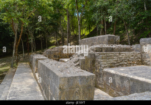 Abstract ancient Mayan ruins of Xunantunich stone lady in San Ignacio, Belize - Stock Image