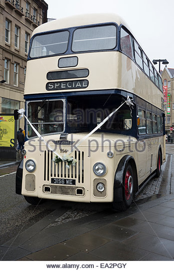 Decorated Double Decker Bus Being Used As Wedding Transport In Sheffield England