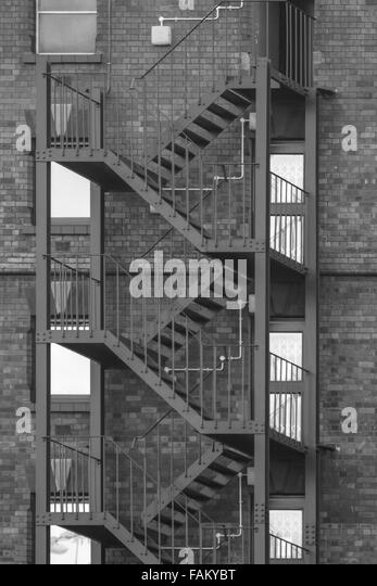 Metal Fire Escape On The Outside Of A Building In Canons Marsh Bristol    Stock Image