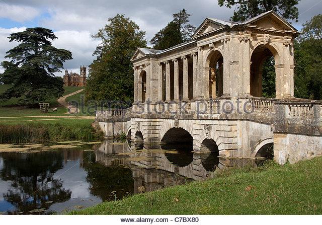 Palladian Bridge And Gothic Temple Stowe Gardens Buckinghamshire   Stock  Image