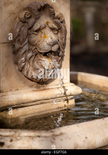 Perfect Lions Head Classic Garden Fountain, Stone Effect   Stock Image