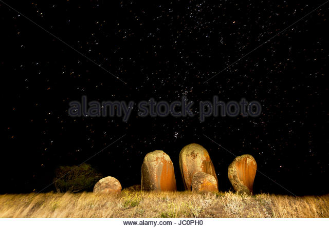 Murphy's Haystacks at night with the stars of the northern autumn sky. - Stock Image