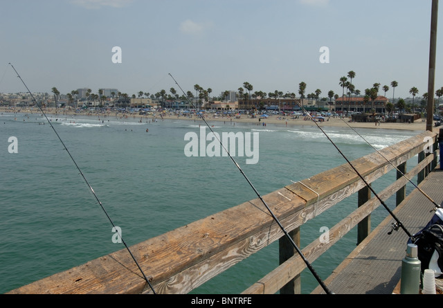 Fishing pole with sinker stock photos fishing pole with for Newport pier fishing