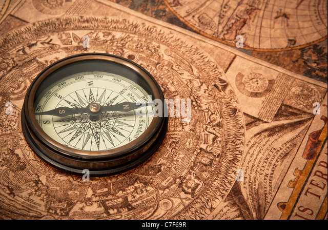 Old Compass Drawing Stock Photos Old Compass Drawing Stock - Antiques us maps with compass