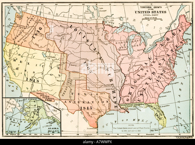 Map Of Territorial Growth Of The Us From 1783 To 1867 Stock Image