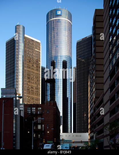 Detroit michigan skyline on detroit stock photos detroit for General motors corporate office