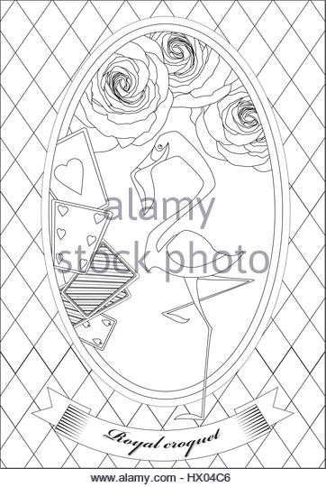 coloring page alice in wonderland royal croquet hatter dormouse stock image