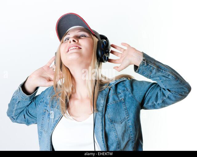 happy girl dancing headphones mp3 stock photos amp happy