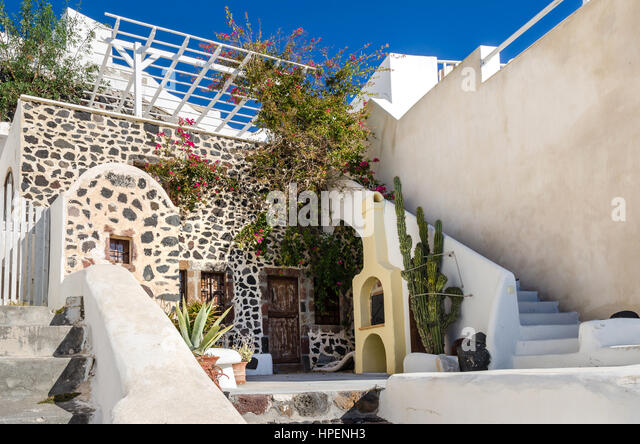 Thira, Greece   November 10, 2015: One Of The Traditional Houses On The