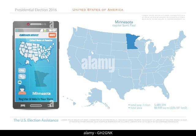 Illustration State Minnesota Silhouette Map Stock Photos - Minesota on us map