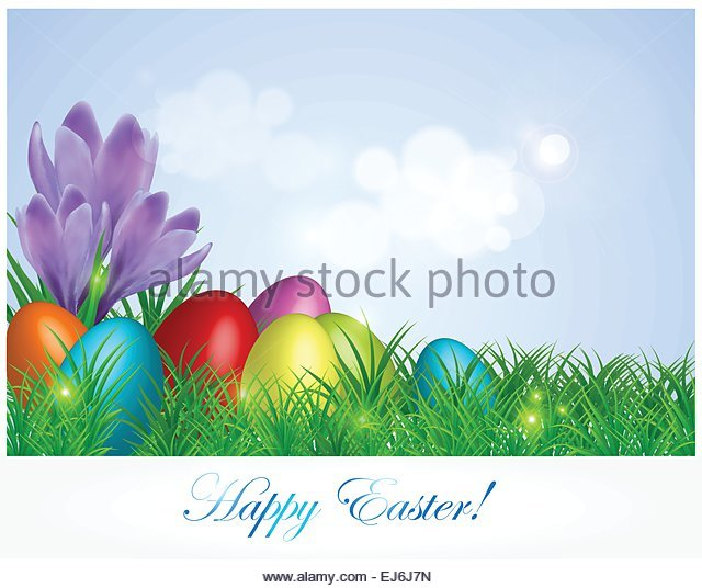 Easter Background Or Card With Colorful Eggs Grass And Spring Flowers On Meadow Vector