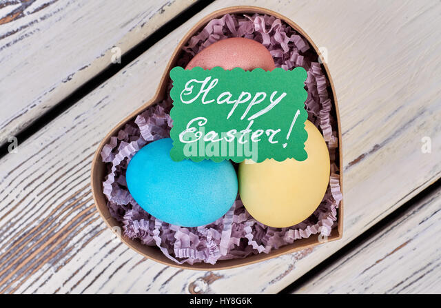 Heart easter gift box colorful stock photos heart easter gift heart shaped easter gift box colorful eggs and greeting card how to make easter negle Gallery