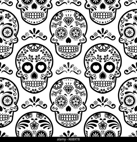 mexican sugar skull vector seamless pattern halloween candy skulls background day of the dead - Mexican Halloween Skulls