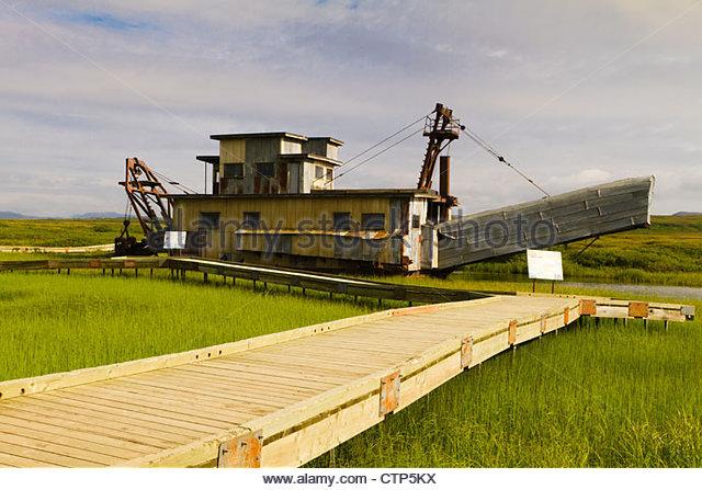Historic Gold Dredges : Arctic council stock photos images