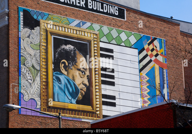 Duke ellington at piano stock photos duke ellington at for Duke ellington mural