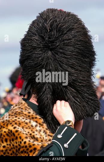 Drum Major Puts On Bearskin Hat