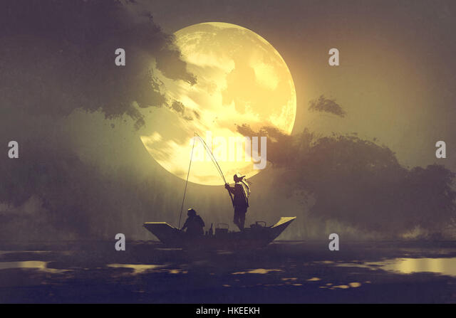 Painting and moon and ocean stock photos painting and for Fishing rod sun and moon