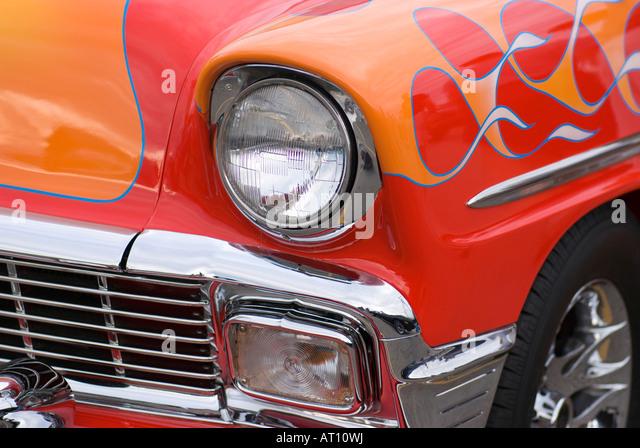 Vintage Automobile Front Center With One Headlight : Hot rod custom paint job stock photos
