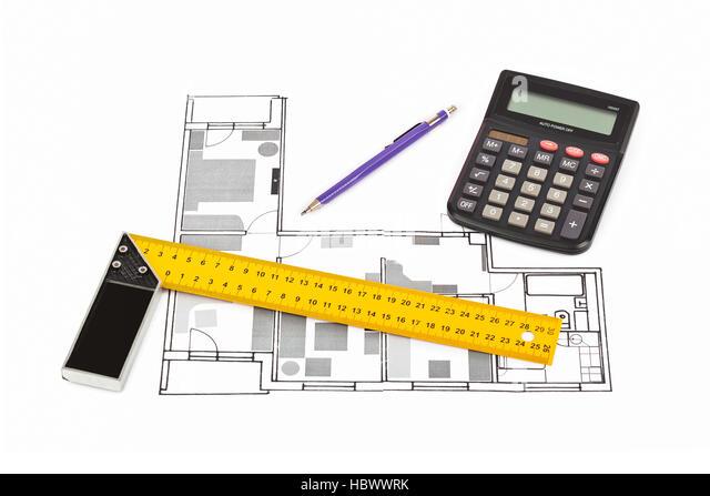 Building Plan Calculator Ruler Pencil Stock Photos