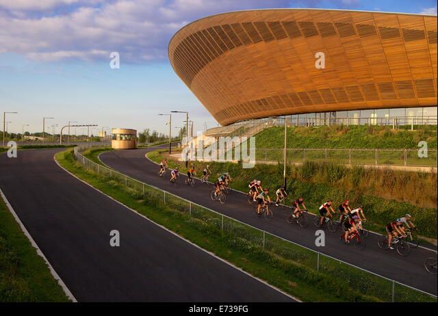 Cyclists At The Olympic Velodrome In Queen Elizabeth Park Stratford London