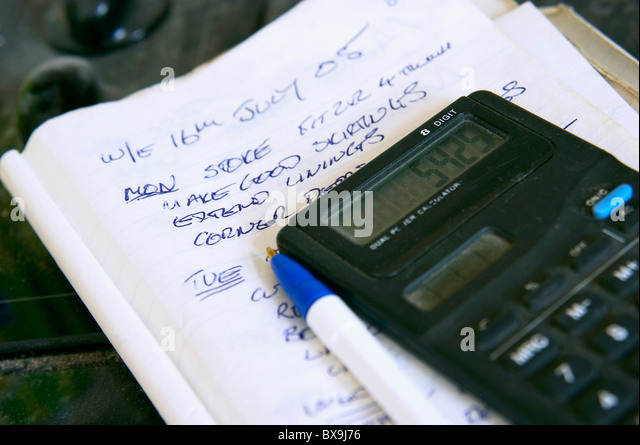 Builders Notepad Used Quotation Stock Photos & Builders Notepad