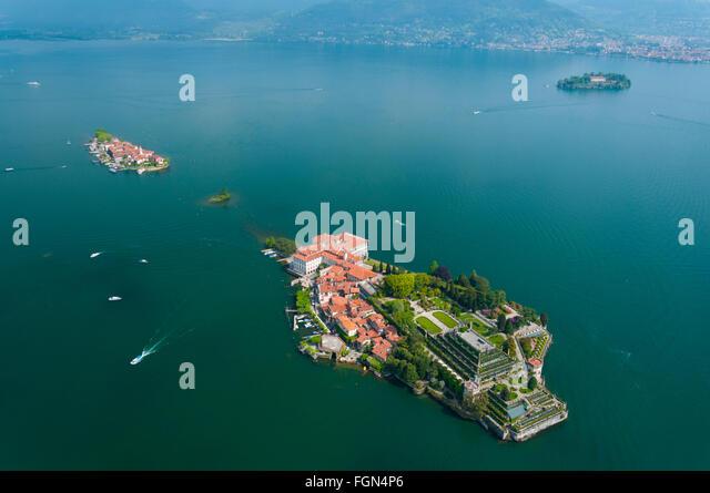 Italy, Piedmont, Maggiore Lake, Isola Bella, Superiore And Madre Islands  (aerial