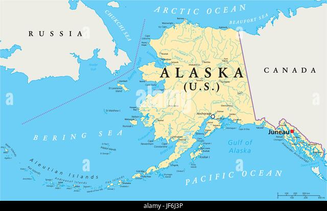 Political map of alaska stock photos political map of alaska america state anchorage alaska map atlas map of the world gumiabroncs Images