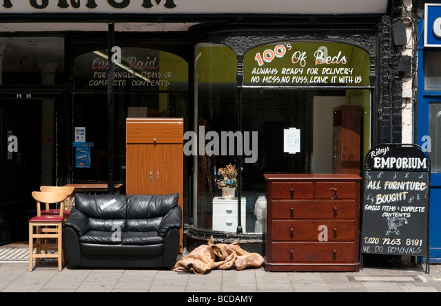 Second hand furniture shop London England UK - Stock Image