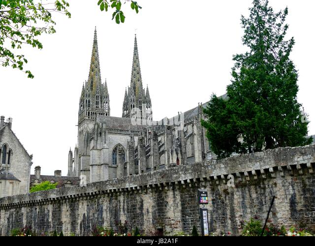 Saint Corentin Cathedral, Southern Façade Seen Over Ancient Walls. Quimper,  France.