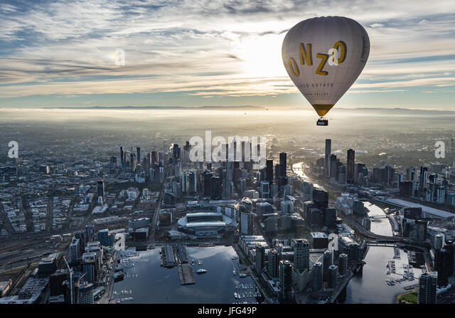 Floating above Melbourne - Stock Image